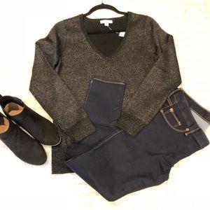 NY&Co Shimmer V-Neck Sweater S NWT